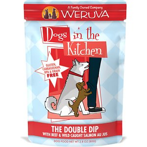 Weruva Dogs in the Kitchen The Double Dip with Beef & Wild Caught Salmon Au Jus Grain-Free Dog Food Pouches, 2.8-oz, case of 12; Weruva Dogs in the Kitchen The Double Dip Dog Food Pouches provide a yummy home cooked meal in a perfectly portioned serving. This luxurious, natural pet food is made from the best ingredients around the world including fresh, high-quality beef and wild caught salmon. As with all of Weruva's Dogs in the Kitchen recipes, the ingredients in The Double Dip maintain their natural look and recognizable texture, so what you see is exactly what you – and your pup – get!