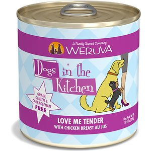 Weruva Dogs in the Kitchen Love Me Tender with Chicken Breast Au Jus Grain-Free Canned Dog Food, 10-oz can, case of 12; Weruva Dogs in the Kitchen Love Me Tender Canned Dog Food provides a yummy home cooked meal in a perfectly portioned serving. This luxurious, natural pet food is made from the best ingredients around the world including fresh, high-quality chicken breast. As with all of Weruva's Dogs in the Kitchen recipes, the ingredients in Love Me Tender maintain their natural look and recognizable texture, so what you see is exactly what you – and your pup – get!