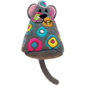 KONG Tropics Mouse Cat Toy, Color Varies; The KONG Tropics Mouse Cat Toy combines a durable wool fabric exterior with KONG Premium North American Catnip on the interior to bring out your cat's playful instincts. This toy encourages active play, and the wool fabric makes it ideal for pouncing and batting around. Bright colors and a geometric pattern are included for added fun.