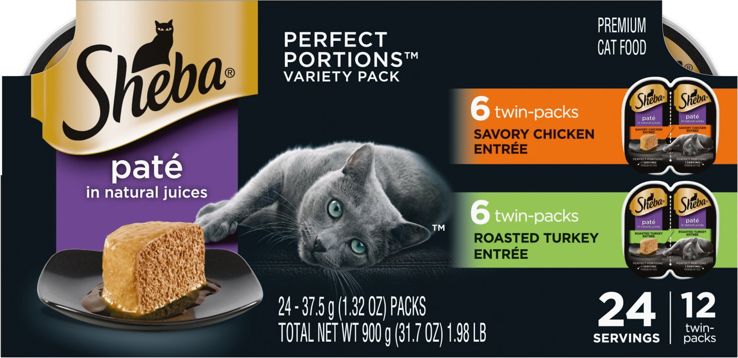 Sheba Perfect Portions Grain-Free Multipack Poultry Entrees Cat Food Trays,  2 6-oz, case of 12 twin-packs