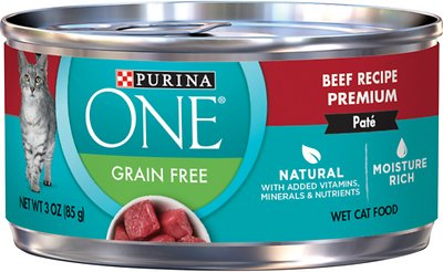 9. Purina ONE Grain-Free Beef Pate Recipe Canned Cat Food