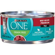 Purina ONE Beef Recipe Pate Grain-Free Canned Cat Food, 3-oz, case of 24