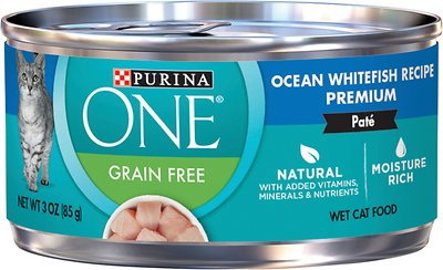 8. Purina ONE Grain-free Ocean Whitefish Pate Recipe Canned Cat Food