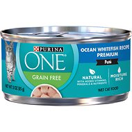 Purina ONE Ocean Whitefish Recipe Pate Grain-free Canned Cat Food, 3-oz, case of 24