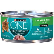 Purina ONE True Instinct Chicken & Turkey Recipe in Gravy Canned Cat Food, 3-oz, case of 24