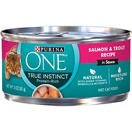 Purina ONE True Instinct Salmon & Trout Recipe in Sauce Canned Cat Food, 3-oz, case of 24