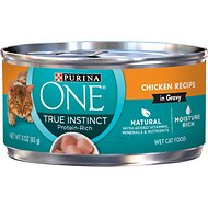 Purina ONE True Instinct Chicken Recipe in Gravy Premium Canned Cat Food, 3-oz, case of 24
