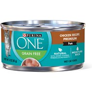 Purina ONE Chicken Recipe Pate Grain-Free Canned Cat Food, 3-oz, case of 24