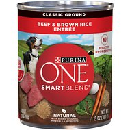 Purina ONE SmartBlend Classic Ground Beef & Brown Rice Entree Adult Canned Dog Food, 13-oz, case of 12