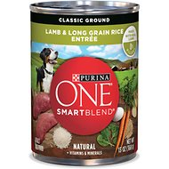 Purina ONE SmartBlend Classic Ground Lamb & Long Grain Rice Entree Adult Canned Dog Food, 13-oz, case of 12