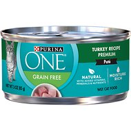 Purina ONE SmartBlend Classic Turkey Recipe Pate Grain-Free Canned Cat Food, 3-oz, case of 24