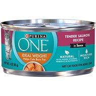 Purina ONE Ideal Weight Tender Salmon Recipe in Sauce Adult Premium Canned Cat Food, 3-oz, case of 24