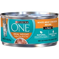 Purina ONE Ideal Weight White Meat Chicken Recipe in Sauce Canned Cat Food, 3-oz, case of 24