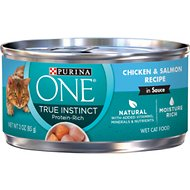 Purina ONE SmartBlend True Instinct Chicken & Salmon Recipe in Gravy Canned Cat Food, 3-oz, case of 24