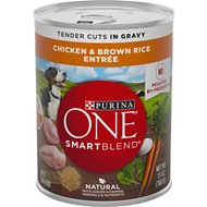 Purina ONE SmartBlend Tender Cuts in Gravy Chicken & Brown Rice Entree Adult Canned Dog Food, 13-oz, case of 12