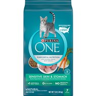 Purina ONE Sensitive Skin & Stomach Dry Cat Food, 7-lb bag
