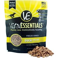 Vital Essentials Duck Entree Mini Nibs Grain-Free Freeze-Dried Dog Food, 1-lb bag
