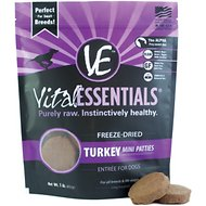 Vital Essentials Turkey Entree Mini Patties Grain-Free Freeze-Dried Dog Food, 1-lb bag