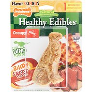 Nylabone Natural Healthy Edibles Dinosaur T-Rex Beef & Bacon Dog Treats, Medium