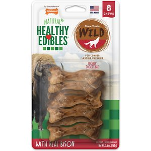 Nylabone Natural Healthy Edibles Wild with Real Bison Small Dog Treats, 8 count; Excite your dog\\\'s primal instincts with Healthy Edibles Wild with Real Bison Small Dog Treats. These mouthwatering chews feature USA sourced bison to occupy and satisfy your dog. Made with natural ingredients and free of preservatives and added salt and sugar, Real Bison Small Dog Treats contain essential vitamins and minerals to help maintain your dog's overall health.