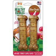 Nylabone Natural Healthy Edibles with Real Turkey & Apple Twin Pack Dog Bone Treats, Medium