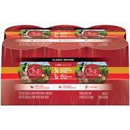 Purina ONE SmartBlend Classic Ground Entree Variety Pack Adult Canned Dog Food, 13-oz, case of 6