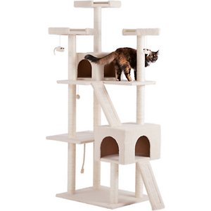 Frisco 72-in Large Base Faux Fur Cat Tree & Condo, Cream; The Frisco 72-inch Large Base Cat Tree is the ultimate all-in-one spot for your kitty to do all the things she loves, from lounging to leaping to honing her expert hunting skills. Frisky cats can jump from perch to perch and climb to the top of the lookout tower. Carefully placed dangling toys give Kitty the thrill of the hunt as she bats them around till her heart's content. With ten enticing scratching posts, several cats can claw at once, so it's great for multi-cat households. When it's time for a catnap, two private kitty apartments provide quiet spots to curl up for snoozing. The faux fleece fabric covering makes naptime comfy, plus it's great for face rubbing and nuzzling.