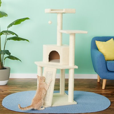 "Frisco 52"" Faux Fur Cat Tree & Condo (Cream)"