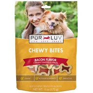 Pur Luv Chewy Bites Bacon Flavor Dog Treats, 30-count