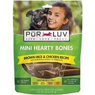 Pur Luv Brown Rice & Chicken Recipe Hearty Bones Multi-Benefit Dog Treats, Mini, 50-count