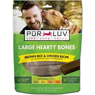Pur Luv Brown Rice & Chicken Recipe Hearty Bones Multi-Benefit Dog Treats, Large, 10-count