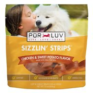 Pur Luv Sizzlin Strips Chicken & Sweet Potato Treats for Dogs, Regular, 16-oz bag