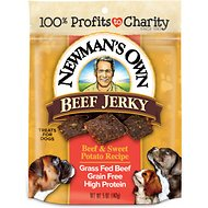 Newman's Own Beef Jerky Beef & Sweet Potato Recipe Dog Treats, 5-oz bag