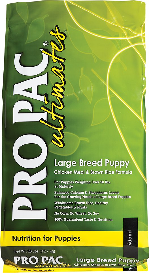 Pro Pac Ultimates Chicken Meal & Brown Rice Large Breed Puppy Dry Dog Food, 28-lb bag - Chewy.com