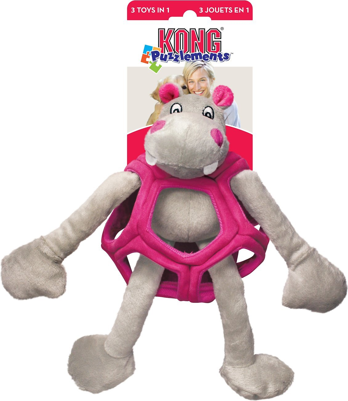 Kong Puzzlements Hippo Dog Toy Large Chewy Com