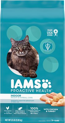 8. Iams ProActive Health Indoor Weight & Hairball Care Dry Cat Food