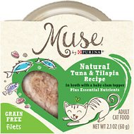 Purina Muse Natural Tuna & Tilapia Recipe in Broth with a Baby Clam Topper Adult Grain-Free Cat Food Trays, 2.1-oz, case of 10