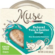Purina Muse Natural Tuna & Sardine Recipe in Fish Broth Adult Grain-Free Cat Food Trays, 2.1-oz, case of 10