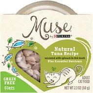Purina Muse Natural Tuna Recipe Accented with Spinach in Fish Broth Adult Grain-Free Cat Food Trays, 2.1-oz, case of 10