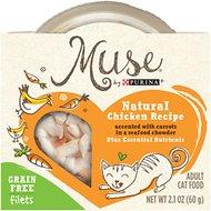 Purina Muse Natural Chicken Recipe Accented with Carrots in a Seafood Chowder Adult Grain-Free Cat Food Trays, 2.1-oz, case of 10
