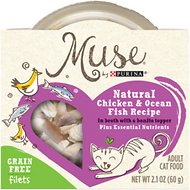 Purina Muse Natural Chicken & Ocean Fish Recipe in Broth with a Bonito Topper Adult Grain-Free Cat Food Trays, 2.1-oz, case of 10