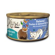 Purina Muse Natural Grain-Free Pate Canned Cat Food, Turkey & Spinach Recipe, 3-oz, case of 24