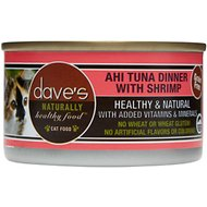 Dave's Pet Food Naturally Healthy Grain-Free Ahi Tuna Dinner with Shrimp Canned Cat Food, 5.5-oz, case of 24