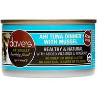 Dave's Pet Food Naturally Healthy Grain-Free Ahi Tuna Dinner with Mussel Canned Cat Food, 3-oz, case of 24