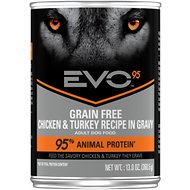 EVO 95 Adult Dog Grain Free Chicken & Turkey Recipe in Gravy Canned Dog Food 13-oz, case of 12