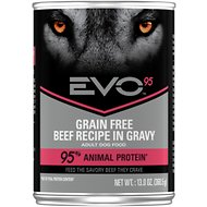 EVO 95 Adult Grain Free Beef Recipe in Gravy Canned Dog Food 13-oz, case of 12