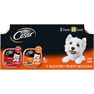 Cesar Classic Loaf in Sauce Beef & Chicken & Liver Recipes Variety Pack Dog Food Trays, 3.5-oz, case of 12