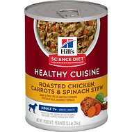 Hill's Science Diet Adult 7+ Healthy Cuisine Roasted Chicken, Carrots & Spinach Stew Canned Dog Food, 12.5-oz, case of 12