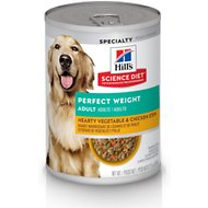 Hill's Science Diet Adult Perfect Weight Hearty Vegetable & Chicken Stew Canned Dog Food, 12.5-oz, case of 12