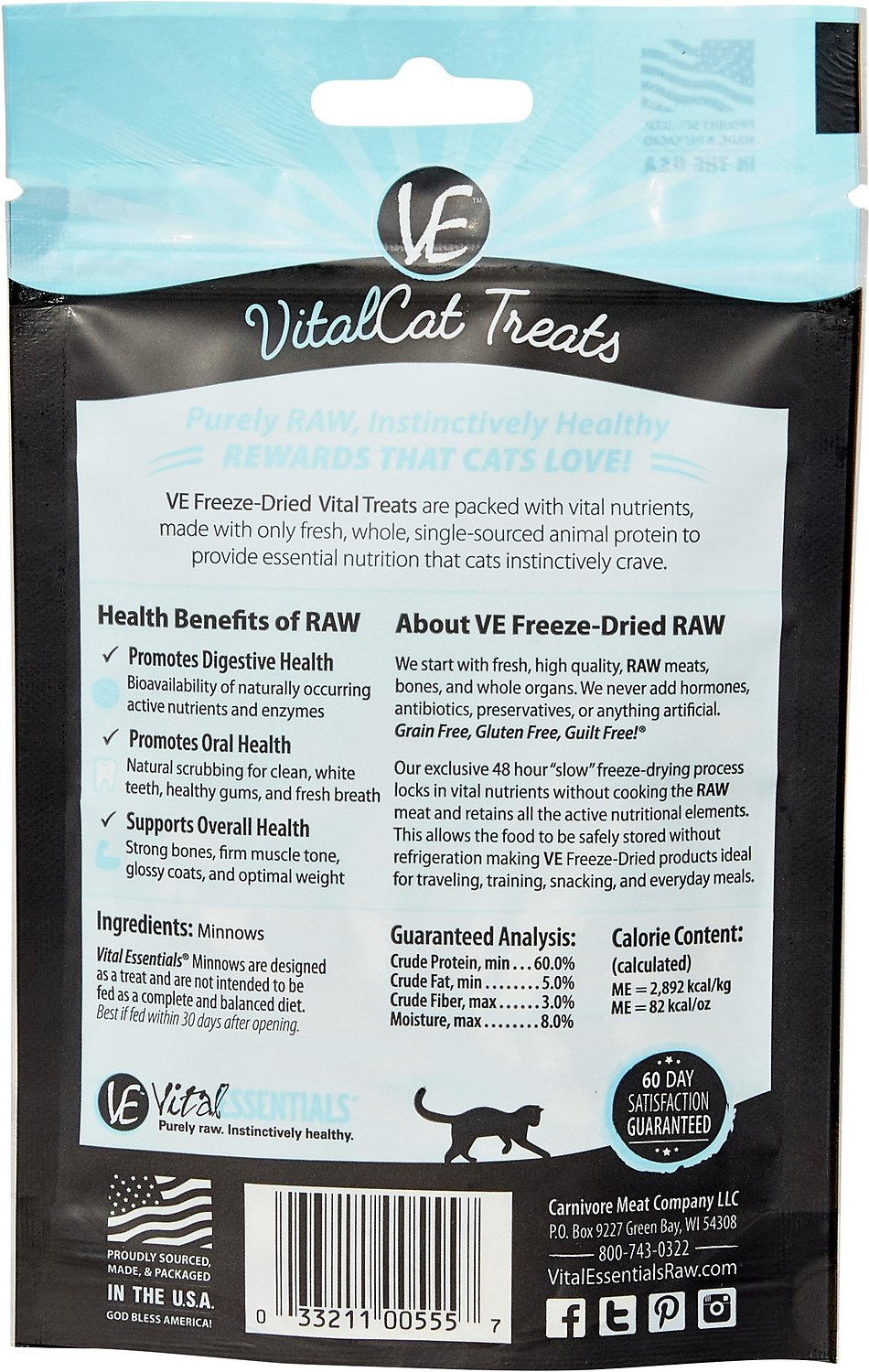 Vital Essentials Minnows Freeze-Dried Cat Treats, 0 5-oz bag